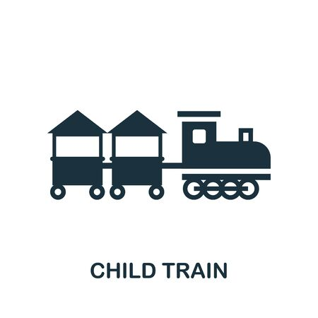 Child Train icon. Simple illustration from amusement park collection. Monochrome Child Train icon for web design, templates and infographics.