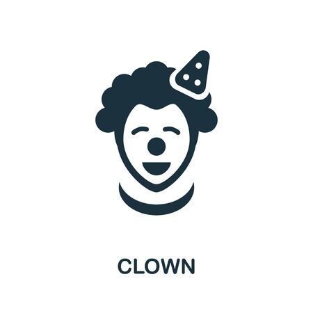 Clown icon. Simple illustration from amusement park collection. Monochrome Clown icon for web design, templates and infographics.