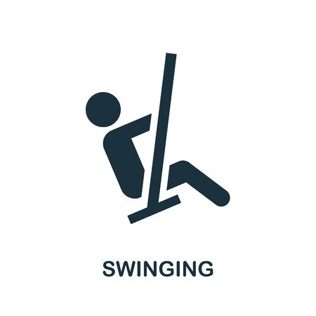 Swinging icon. Simple illustration from amusement park collection. Monochrome Swinging icon for web design, templates and infographics.