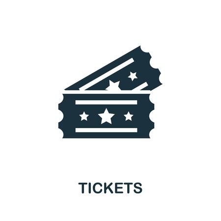 Tickets icon. Simple illustration from amusement park collection. Monochrome Tickets icon for web design, templates and infographics. 向量圖像