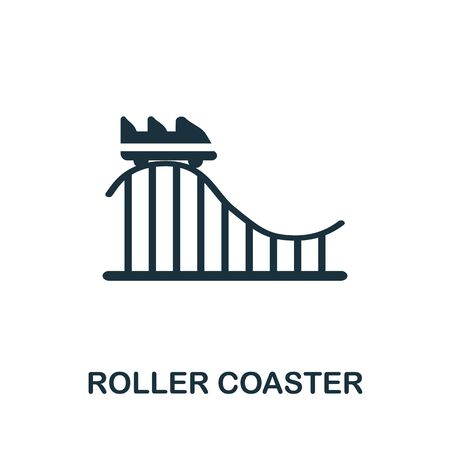 Roller Coaster icon. Simple illustration from amusement park collection. Monochrome Roller Coaster icon for web design, templates and infographics.