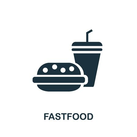 Fastfood icon. Simple illustration from amusement park collection. Monochrome Fastfood icon for web design, templates and infographics.