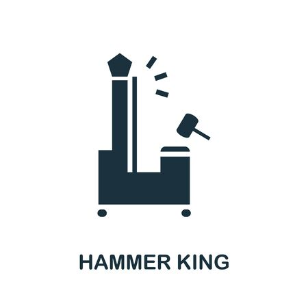 Hammer King icon. Simple illustration from amusement park collection. Monochrome Hammer King icon for web design, templates and infographics.