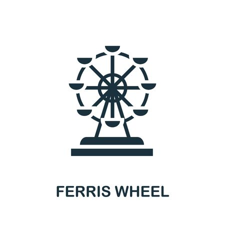Ferris Wheel icon. Simple illustration from amusement park collection. Monochrome Ferris Wheel icon for web design, templates and infographics.