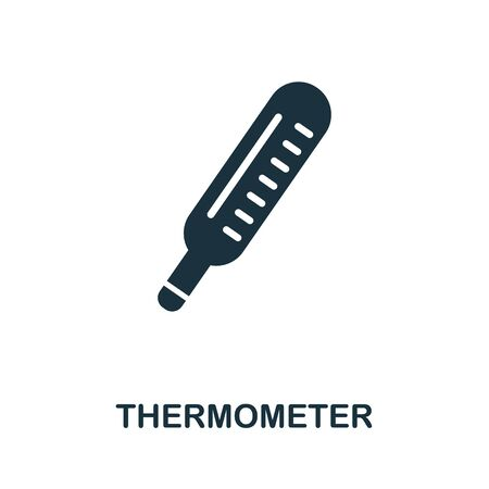 Thermometer icon. Simple illustration from digital health collection. Monochrome Thermometer icon for web design, templates and infographics.