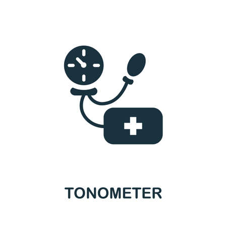 Tonometer icon. Simple illustration from digital health collection. Monochrome Tonometer icon for web design, templates and infographics.