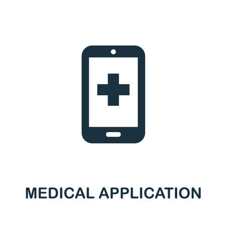 Medical Application icon. Simple illustration from digital health collection. Monochrome Medical Application icon for web design, templates and infographics.