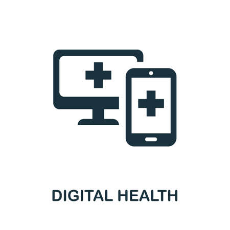 Digital Health icon. Simple line element digital health symbol for templates, web design and infographics.
