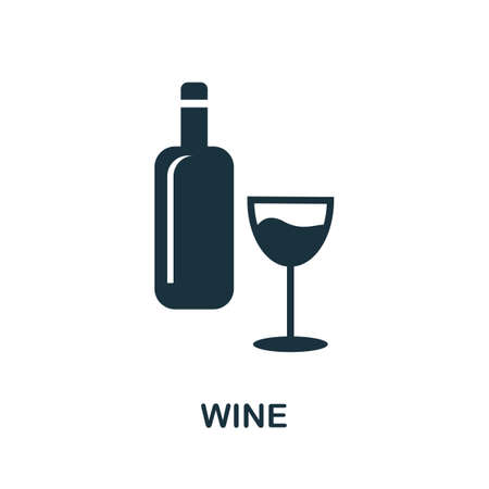 Wine icon. Simple illustration from drinks collection. Monochrome Wine icon for web design, templates and infographics. Illusztráció
