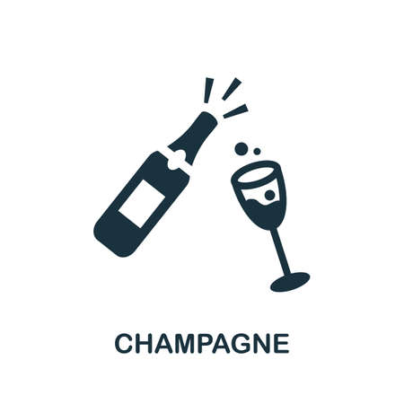 Champagne icon. Simple illustration from drinks collection. Monochrome Champagne icon for web design, templates and infographics. Illusztráció