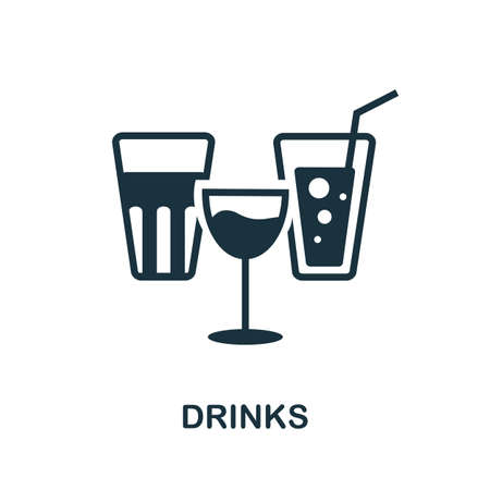 Drinks icon. Simple line element drinks symbol for templates, web design and infographics. 向量圖像