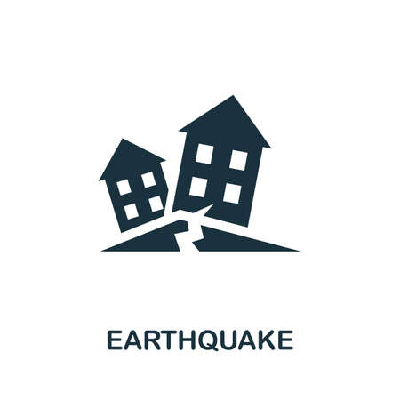 Earthquake icon. Simple illustration from natural disaster collection. Monochrome Earthquake icon for web design, templates and infographics. Illusztráció