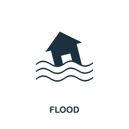 Flood icon. Simple illustration from natural disaster collection. Monochrome Flood icon for web design, templates and infographics. Ilustração