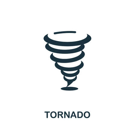 Tornado icon. Simple illustration from natural disaster collection. Monochrome Tornado icon for web design, templates and infographics.