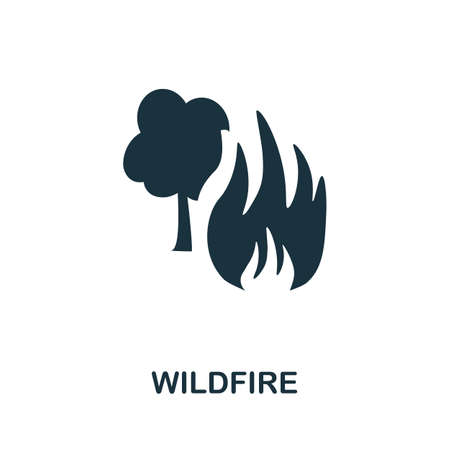 Wildfire icon. Simple illustration from natural disaster collection. Monochrome Wildfire icon for web design, templates and infographics.