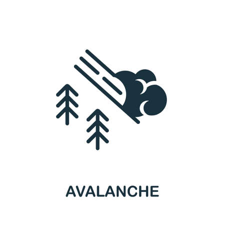 Avalanche icon. Simple illustration from natural disaster collection. Monochrome Avalanche icon for web design, templates and infographics.