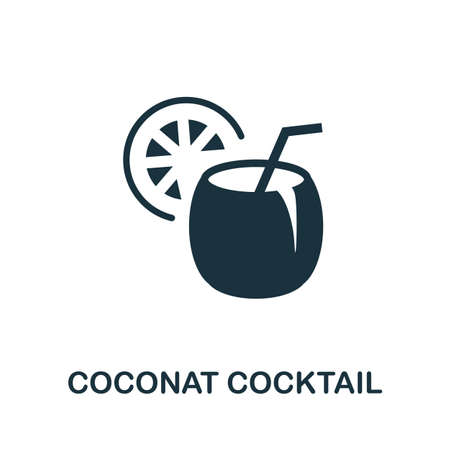 Coconat Cocktail icon. Simple illustration from drinks collection. Monochrome Coconat Cocktail icon for web design, templates and infographics. Ilustrace