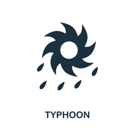 Typhoon icon. Simple illustration from natural disaster collection. Monochrome Typhoon icon for web design, templates and infographics.