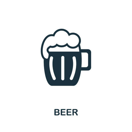 Beer icon. Simple illustration from drinks collection. Monochrome Beer icon for web design, templates and infographics.