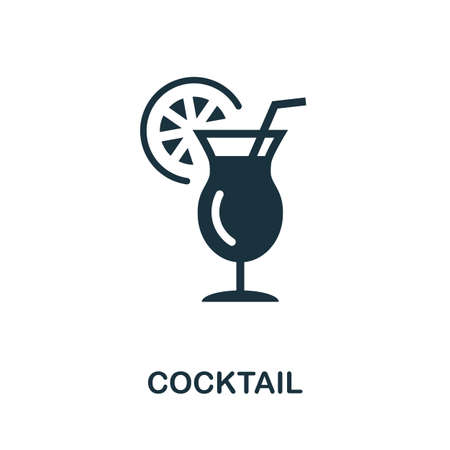 Cocktail icon. Simple illustration from drinks collection. Monochrome Cocktail icon for web design, templates and infographics. Ilustración de vector