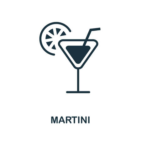 Martini icon. Simple illustration from drinks collection. Monochrome Martini icon for web design, templates and infographics. Vettoriali