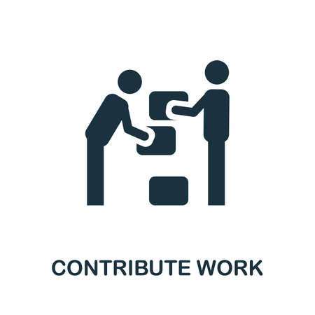 Contribute Work icon. Simple illustration from business management collection. Monochrome Contribute Work icon for web design, templates and infographics. Reklamní fotografie - 151345575