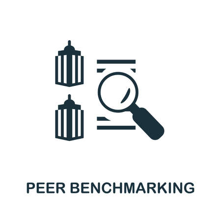 Peer Benchmarking icon. Simple illustration from business management collection. Monochrome Peer Benchmarking icon for web design, templates and infographics.