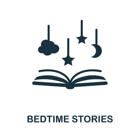 Bedtime Stories icon. Simple illustration from well sleep collection. Monochrome Bedtime Stories icon for web design, templates and infographics.
