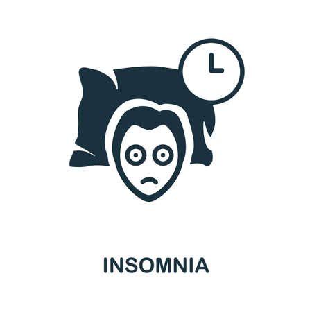Insomnia icon. Simple illustration from well sleep collection. Monochrome Insomnia icon for web design, templates and infographics.