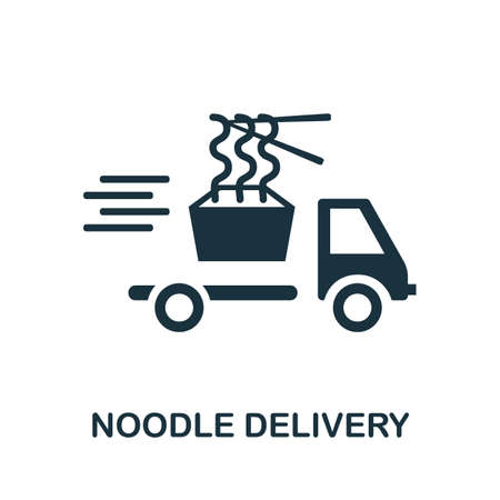 Noodle Delivery icon. Simple illustration from delivery collection. Monochrome Noodle Delivery icon for web design, templates and infographics.