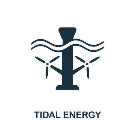 Tidal Energy icon. Simple illustration from alternative energy collection. Monochrome Tidal Energy icon for web design, templates and infographics. Vettoriali