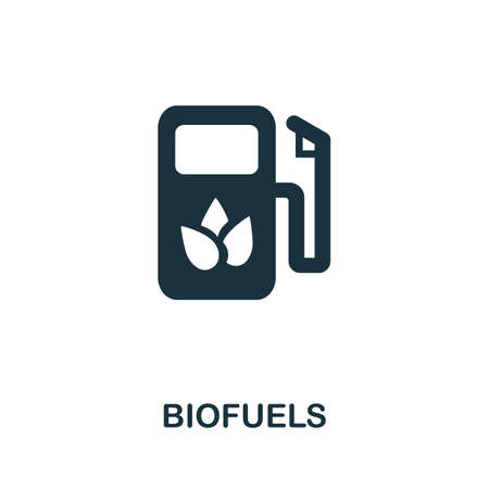 Biofuels icon. Simple illustration from alternative energy collection. Monochrome Biofuels icon for web design, templates and infographics. Vector Illustration