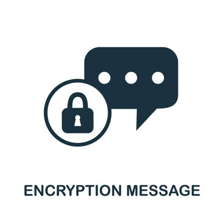 Encryption Message icon. Simple illustration from internet security collection. Monochrome Encryption Message icon for web design, templates and infographics. Ilustração