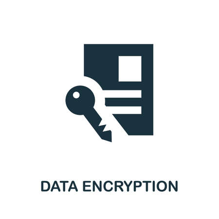 Data Encryption icon. Simple illustration from internet security collection. Monochrome Data Encryption icon for web design, templates and infographics. Ilustrace