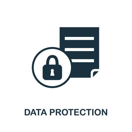 Data Protection icon. Simple illustration from internet security collection. Monochrome Data Protection icon for web design, templates and infographics.