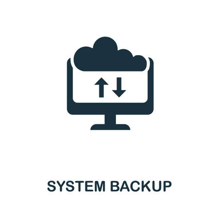System Backup icon. Simple illustration from internet security collection. Monochrome System Backup icon for web design, templates and infographics.