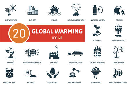 Global Warming icon set. Collection contain ecology, flood, wind power, car pollution and over icons. Global Warming elements set.