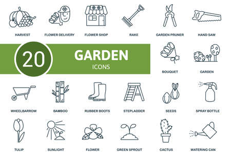 Garden icon set. Collection contain seeds, harvest, garden pruner, sunlight and over icons. Garden elements set
