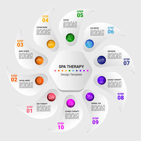 Vector Spa Therapy infographic template. Include Body Scrub, Steam Room, Sauna, Solarium and others. Icons in different colors.