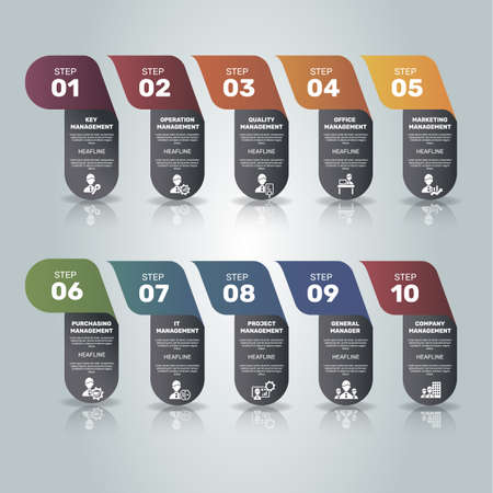 Infographic Company Management template. Icons in different colors. Include Key Management, Operation Management, Quality, Office and others. Ilustración de vector