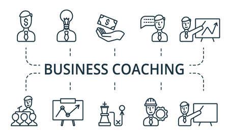 Business Coaching icon set. Collection contain pack of pixel perfect creative icons. Business Coaching elements set Illusztráció