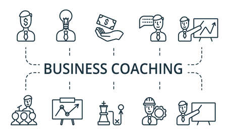 Business Coaching icon set. Collection contain pack of pixel perfect creative icons. Business Coaching elements set Illustration