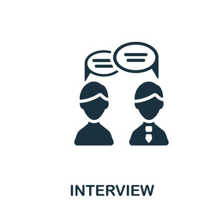 Interview icon. Simple illustration from business recruitment collection. Monochrome Interview icon for web design, templates and infographics. Ilustracja