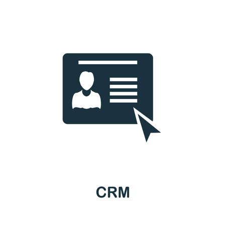 Crm icon. Simple illustration from business intelligence collection. Monochrome Crm icon for web design, templates and infographics.