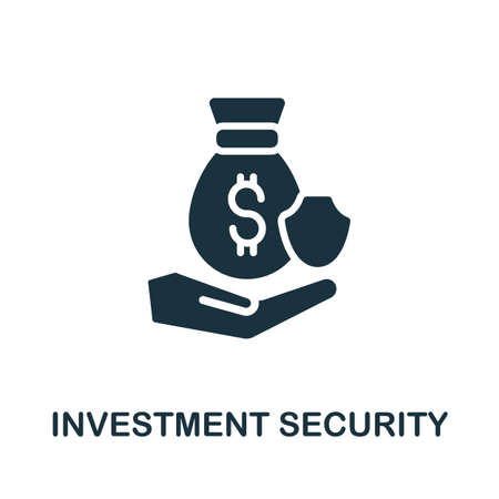 Investment Security icon. Simple illustration from investment collection. Monochrome Investment Security icon for web design, templates and infographics. Ilustracja