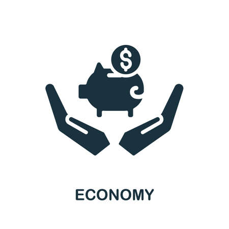 Economy icon. Simple illustration from investment collection. Monochrome Economy icon for web design, templates and infographics. Ilustracja