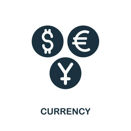 Currency icon. Simple illustration from investment collection. Monochrome Currency icon for web design, templates and infographics. Ilustracja