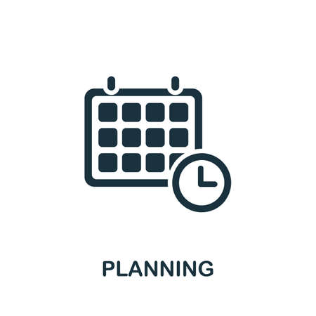 Planning icon. Simple illustration from time management collection. Monochrome Planning icon for web design, templates and infographics. Ilustracja