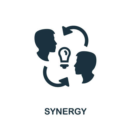 Synergy icon. Simple illustration from team building collection. Monochrome Synergy icon for web design, templates and infographics.