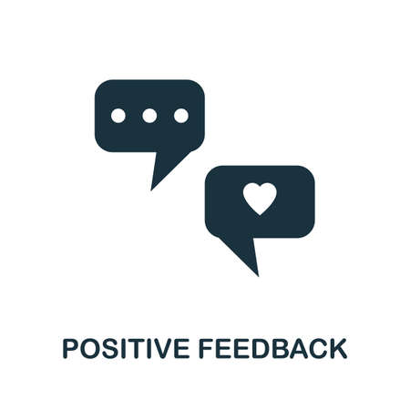 Positive Feedback icon. Simple illustration from team building collection. Monochrome Positive Feedback icon for web design, templates and infographics.
